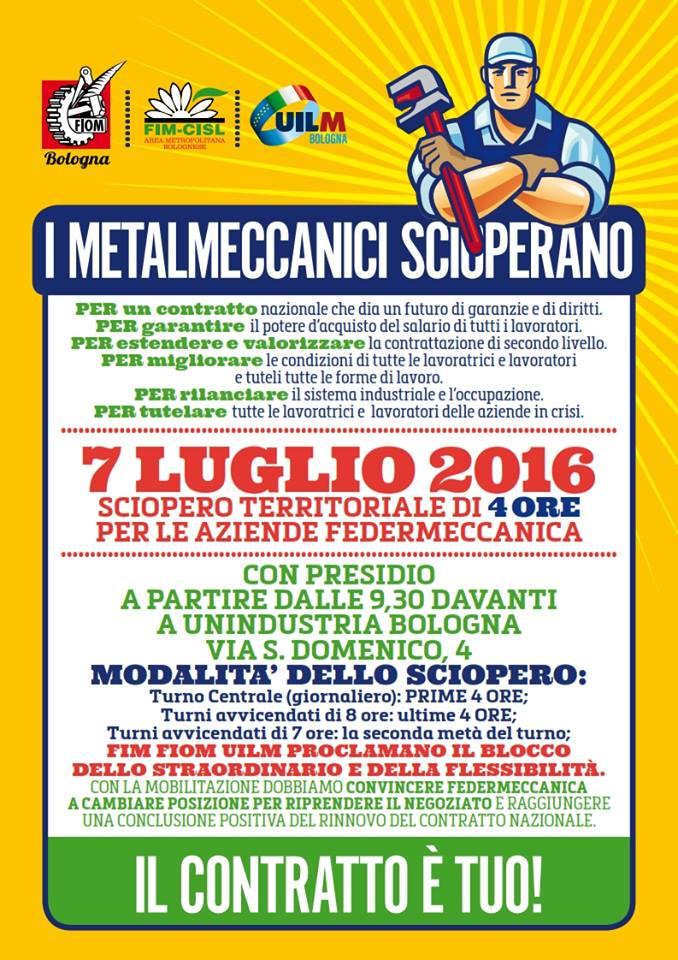 sciopero metalmeccanici Bologna Fiom Cgil 7 luglio 2016