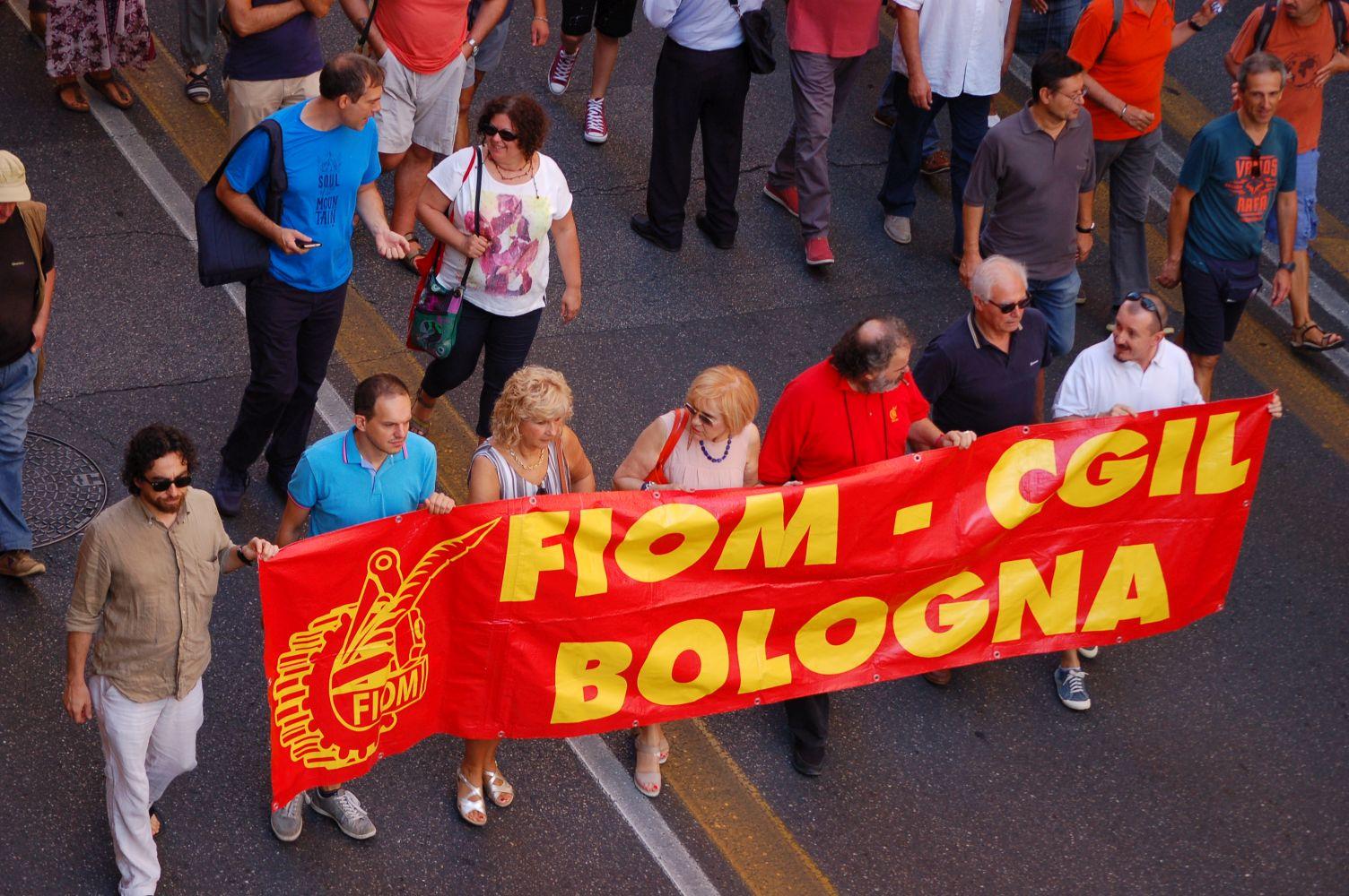Fiom Bologna striscione 2 agosto 2016