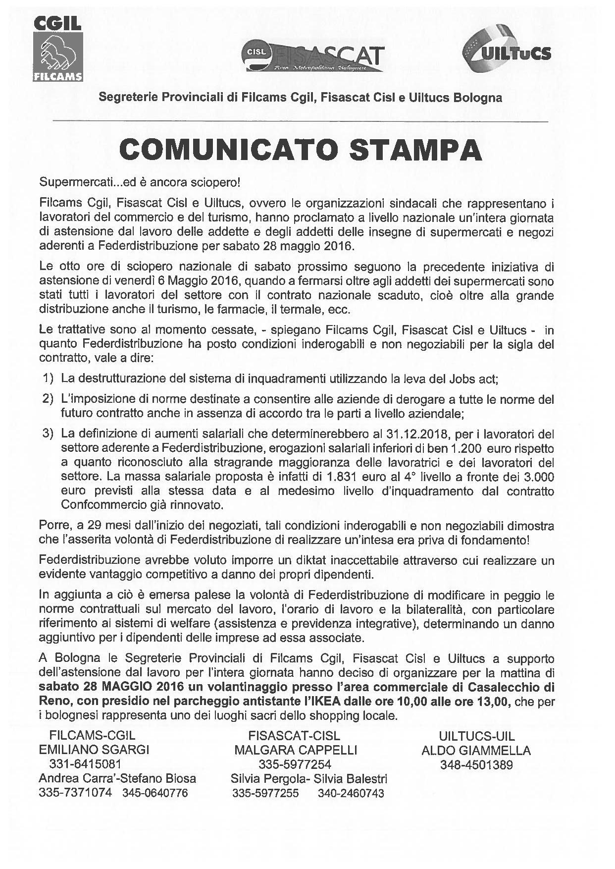Comunicato stampa sciopero federdistribuzione 28 maggio 2016