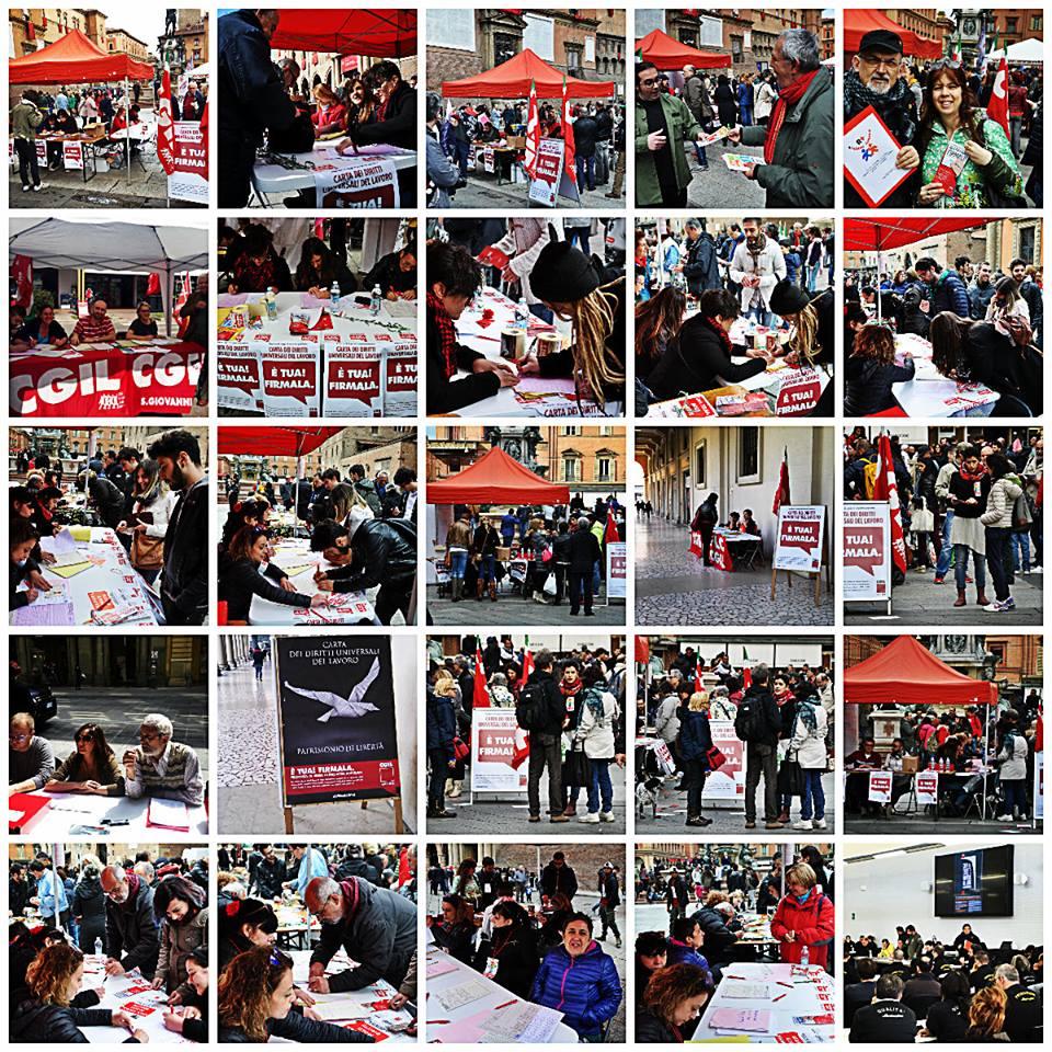 Collage raccolta firme Carta Universale Cgil Bologna