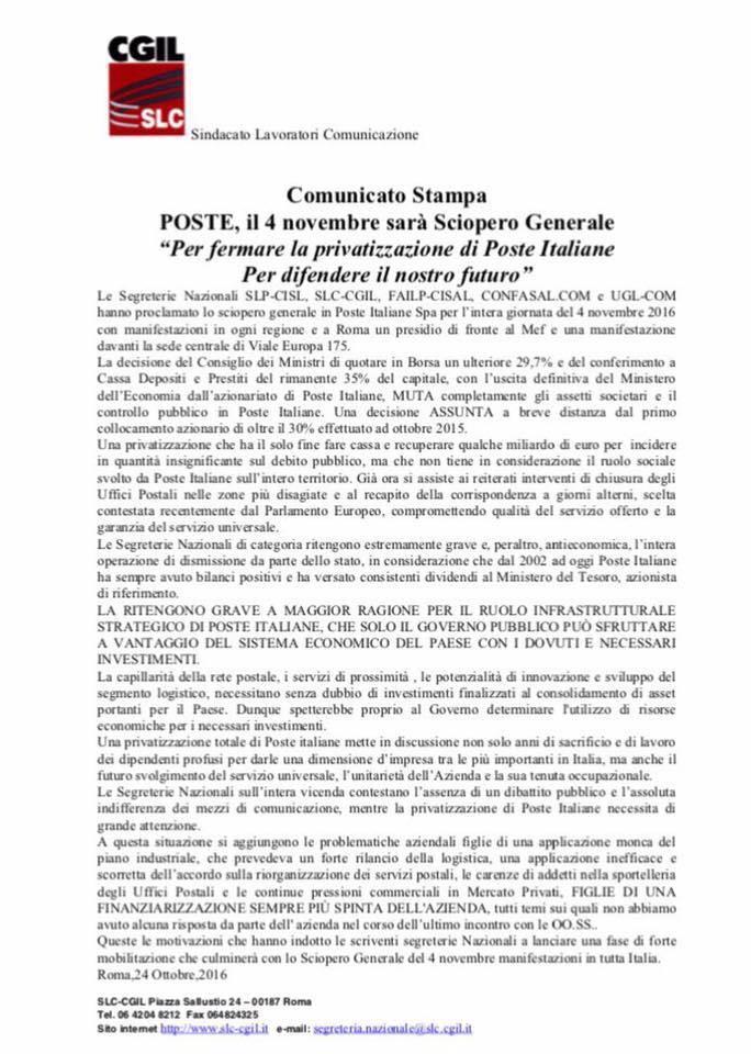 poste-slc-comunicato-stampa-sciopero-4-novembre